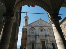 Pienza - Duomo facade. Stock Photo