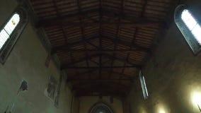 Pienza, inside the church of San Francesco stock footage