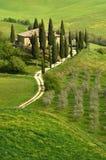 Pienza, Italia - 24 aprile 2018: Belvedere famoso di Podere nella stagione primaverile, nel cuore della Toscana ` Orcia di Val d fotografia stock libera da diritti
