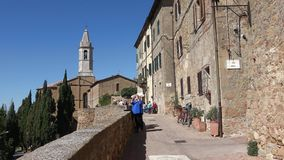 Tourists on the Punto Panoramico, medieval town of Pienza. Tuscany, Italy stock video