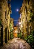 Pienza na noite, Toscânia Fotografia de Stock Royalty Free