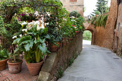 Pienza patios. Italy. Stock Photo