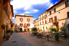 Pienza Piazzetta. The Piazzetta in Pienza, Tuscany Royalty Free Stock Images