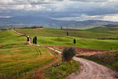 Pienza, Siena, Tuscany, Italy: landscape of the hills where the movie The Gladiator was filmed royalty free stock photos