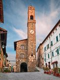 Montalcino, Siena, Tuscany, Italy: the medieval Palazzo dei Priori. With the tall tower in the historic center of the ancient Tuscan town stock images