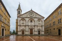 Pienza square of the cathedral Tuscany, Italy. Stock Photo