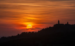 Pienza stad på solnedgången, Tuscany, Italien Royaltyfri Fotografi