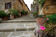 Pienza Steps, Italy Stock Photography