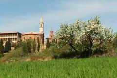PIENZA, TOSCÂNIA/ITÁLIA - 31 DE MARÇO DE 2017: Vila medieval de Pienza Localizado no campo de Siena imagem de stock royalty free