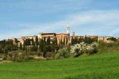 PIENZA, TOSCÂNIA/ITÁLIA - 31 DE MARÇO DE 2017: Vila medieval de Pienza Localizado no campo de Siena foto de stock royalty free
