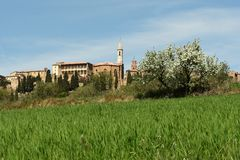 PIENZA, TOSCÂNIA/ITÁLIA - 31 DE MARÇO DE 2017: Vila medieval de Pienza Localizado no campo de Siena foto de stock