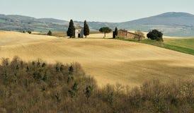 PIENZA, TOSCANA/ITALIA - 31 MARZO 2017: bello paesaggio della Toscana, poca cappella di Madonna di Vitaleta, Pienza, Siena Fotografia Stock