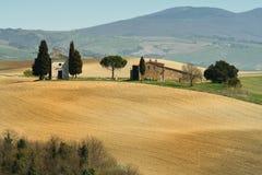 PIENZA, TOSCANA/ITALIA - 31 MARZO 2017: bello paesaggio della Toscana, poca cappella di Madonna di Vitaleta, Pienza, Siena Immagini Stock Libere da Diritti