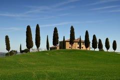 PIENZA, TOSCANA/ITALIA - 31 MARZO 2017: paesaggio della Toscana, terreno coltivabile I Cipressini, alberi di cipresso italiano co Fotografia Stock