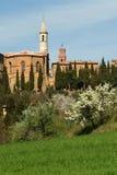 PIENZA, TOSKANA/ITALIEN - 31. MÄRZ 2017: Mittelalterliches Dorf von Pienza Gefunden in Siena-Landschaft Stockfoto