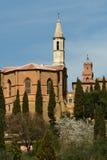 PIENZA, TOSKANA/ITALIEN - 31. MÄRZ 2017: Mittelalterliches Dorf von Pienza Gefunden in Siena-Landschaft Lizenzfreie Stockbilder