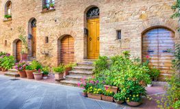 Pienza in Tuscany. Amazing narrow street of old Pienza town in Tuscany Stock Images