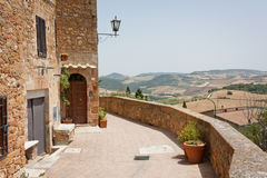 Pienza and Tuscany hills. Little town Pienza in the heart of Italy Royalty Free Stock Photo