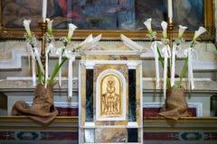 PIENZA, TUSCANY/ITALY - 19 DE MAYO: Interior del chur de Santa Caterina Foto de archivo
