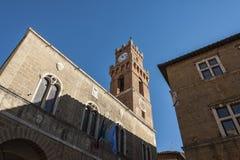 PIENZA, TUSCANY-ITALY, EL 30 DE OCTUBRE DE 2017: El cuadrado más hermoso de las herencias de la UNESCO del mundo en Pienza Imagen de archivo