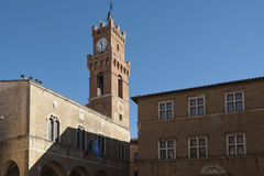 PIENZA, TUSCANY-ITALY, LE 30 OCTOBRE 2017 : La place la plus belle dans les héritages de l'UNESCO du monde dans Pienza Image libre de droits