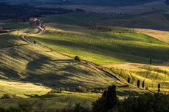 PIENZA, TUSCANY/ITALY - 17 MAI : Campagne d'Orcia de Val près photographie stock