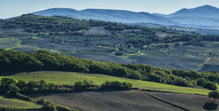 Pienza - Tuscany/Italy, October 30, 2016: Scenic Tuscany landscape with rolling hills and valleys in autumn, near Pienza Stock Photography