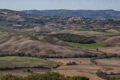 Pienza - Tuscany/Italy, October 30, 2016: Scenic Tuscany landscape with rolling hills and valleys in autumn, near Pienza  Royalty Free Stock Images