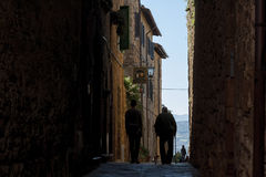 PIENZA - TUSCANY/ITALY, OCTOBER 30, 2016: Undefined people in the beautiful old and medieval town of Pienza, Val D`Orcia Royalty Free Stock Image