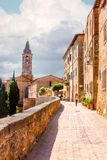 Pienza Tuscany Overlook Towards Farm. Pienza has an overlook that surrounds the city, one spot of which overlooks Agriturismo Poderuccio in the distance. This stock image