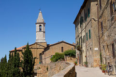 Pienza, Tuscany. Street and buildings of the medieval village Pienza, Tuscany, Italy Stock Photos