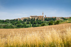 Pienza in Tuscany, from the valley Royalty Free Stock Images