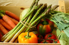Pieprz, marchewki, asparagus, pomidory i kohlrabies w pudełku, fotografia stock