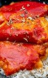 Pieprze Del Piquillo faszerowali z mięsem lub ryba zdjęcia stock