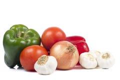 Pieprze, pomidory, cebula i Garlics, Obraz Stock