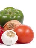 Pieprze, pomidory, cebula i Garlics, Obrazy Royalty Free