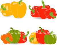 Pieprze, set pieprze i pietruszka liście koloru żółtego, czerwieni, zieleni i pomarańcze, Zdjęcie Royalty Free