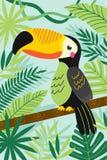 Pieprzojad na gałąź wśród tropikalnych rośliien royalty ilustracja