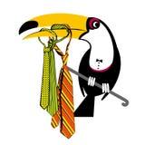 Pieprzojad z kolorowymi krawatami ilustracja wektor