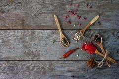 Pieprzowa mieszanka w drewnianych łyżkach na wieśniaka stole, kolorowe indyjskie pikantność Fotografia Stock