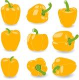 Pieprzy, set koloru żółtego pieprz, ilustracja Zdjęcia Stock