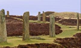 Pierścionek Brodgar kamienia okręgu Orkney wyspy zdjęcia royalty free