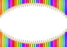 Pierścionek tęcza barwiący ołówki tworzy okręgu kształt odizolowywającego nad białym tłem ilustracja wektor