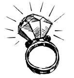 Pierścionek z dużym sparling diamentem Obraz Royalty Free
