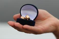 Pierścionki lub teraźniejszość w rękach Zdjęcia Royalty Free