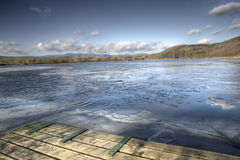 Pier 1. Old pier near the lake, wintertime Stock Photo