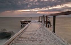 Pier. Filled whit ice a whinter morning Stock Image