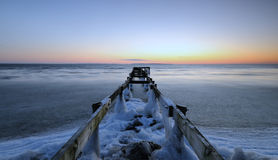 Pier. An old pier filled with ice Stock Images