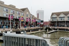 Pier 21 on Galveston Island, Texas in the historic Strand District stock photography