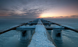 Pier. On a winter day wiht ice Royalty Free Stock Image